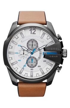 DIESEL 'Mega Chief' Leather Strap Watch, 51mm gifters.com deisel watches