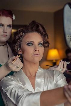 A makeup artist's work is never done when the bride is also a makeup artist LOL  Chris Michael Photography, VaVaVoom Beauty {on.the.go} Makeup #smokeyeye #contour #makeupforever #NARS #RVM #faceshapingBaB