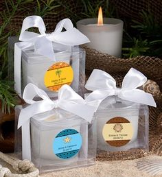 Personalized Beach Candle Favors from Wedding Favors Unlimited