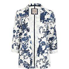 blue floral print blazer - blazers - coats / jackets - women - River Island