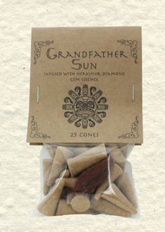 Grandfather Sun Incense Cones with Herkimer Diamond Gem Essence (25 Cones)