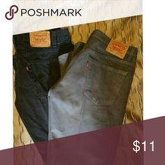 Levis Mens Levis. One Gray and One black. Excellent Condition. No rips or tears.  Price is per pair. Levi's Jeans Straight