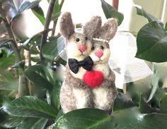 Rabbit wedding cake topper rabbit cake topper needle by Felt4Soul