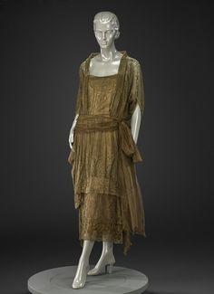 Afternoon Dress designer George Philip Meier (American, 1864-1932) creation date about 1920 materials silk machine lace, silk machine net, silk satin, silk chiffon accession number 1986.458
