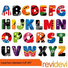 Superhero alphabet clip art in fun vibrant colors. Complete abc learning collection of 26 letters.PLEASE NOTE:This is a clip art collection, and not text font.You can insert/ import this alphabet clip art to decorate your worksheet.This is not font, so you can't install it on your computer.