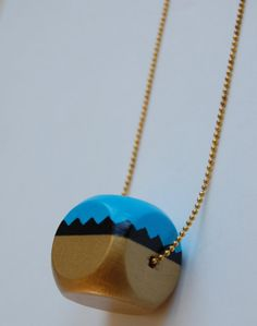 Wood Geometric cube triangles hand painted  necklace by LindoRon, $18.00
