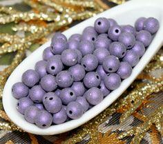 Snowflake Matte Purple Czech Glass Beads by CzechBeadsExclusive, Kč34.50