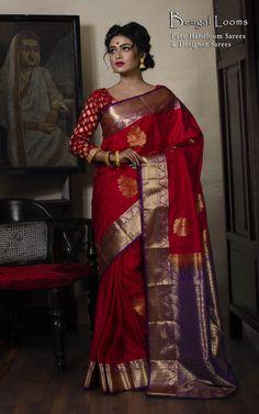 Art Silk Kanjivaram Silk Saree in Red and Purple