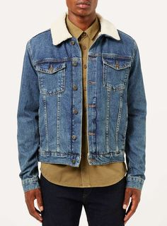 Blue Borg Denim Jacket - Men's Coats & Jackets - Clothing - TOPMAN