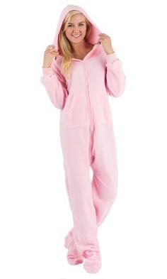 dea3004d55 Footed Pajamas Baby Pink Adult Hoodie One Piece - Medium Footed Pajamas  http