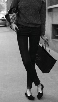 monochrome black sweater, skinnies and smoking slippers