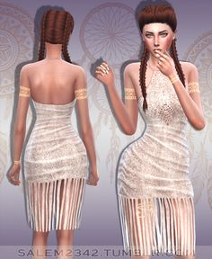Suede Fringe Dress at Salem2342 via Sims 4 Updates Check more at http://sims4updates.net/clothing/suede-fringe-dress-at-salem2342/
