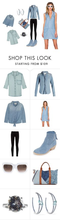 """Chambray Outfit..**"" by yagna ❤ liked on Polyvore featuring Tart, Étoile Isabel Marant, Current/Elliott, A State Of Being, Gucci, Joie, Splendid, Bottega Veneta, Alexis Bittar and vintage"