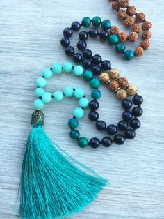 Heart & Soul Blue Goldstone Chrysocolla and Aqua by SaltAndMoon