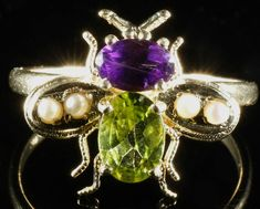 ANTIQUE SUFFRAGETTE BEE RING - 18CT GOLD AND SILVER PERIDOT AMETHYST PEARL