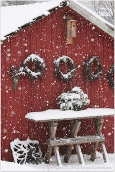 Winter in Finland. Red barn and snow. <3