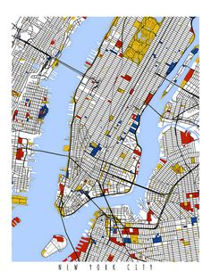 Nueva York arte de la pared / impresión / por MondrianMapArt