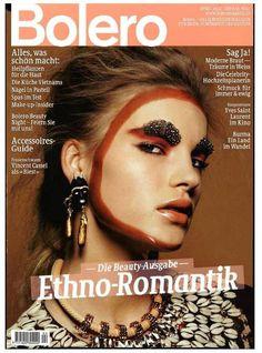 Cover of Bolero Magazin with Isabel Scholten, April 2014 Burma, Auburn, Drawings, Cover, Magazines, Swarovski, Collection, Medicinal Plants, Wedding Bride