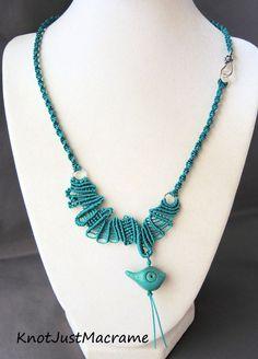 Turquoise Doodle Freeform Mico Macrame Necklace Free Form Bird
