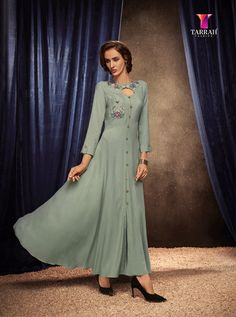 BLOSSOM BY TARRAH FASHION  201 TO 208 SERIES RAYON GOWN STYLE LONG KURTI AT WHOLESALE PRICE AT DSTYLE ICON FASHION Anarkali Kurti, Long Anarkali, Indian Designer Outfits, Designer Gowns, Designer Kurtis, Designer Wear, Grey Gown, Embroidered Kurti, Party Wear Kurtis