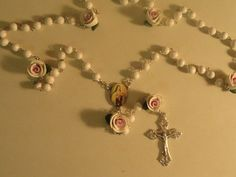 StTherese pink and white rose and bead rosary by barganbright, $20.00