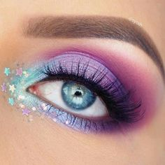 Rainbow Glitter Stars Eye Makeup