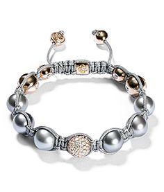 Bracelet gris, diamants blancs, or jaune et perles de Tahiti