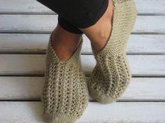 Wool Khaki Handknitted Slippers Women Slippers Fashion by aykelila, $28.00