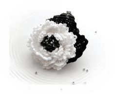 Crochet  Brooch - Beaded Brooch - Cotton Corsage Brooch Black White  Flower