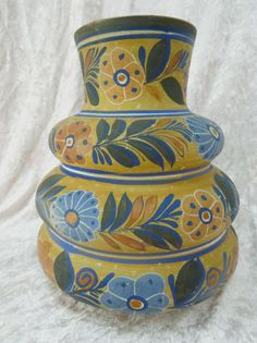 Mexican Vase Decorated  Lots of Color Decoration and by griffincat, $49.95