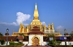 Wat That Luang buddhist temple at Vientiane, Laos.