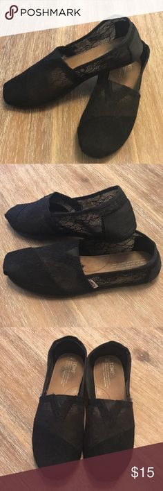 Toms Classic Women's Lace Up slip on These classic style slip on shoes are made with a delicate black lace upper that will add some feminine charm to any outfit! Only worn twice, in good condition comes in size 8! Toms Shoes Flats & Loafers