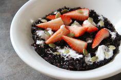 Breakfast Black Rice Porridge with Coconut Cream