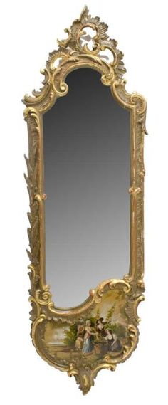 Lot: LOUIS XV STYLE GILT ROCOCO PAINTED WALL MIRROR, Lot Number: 0758, Starting Bid: $250, Auctioneer: Austin Auction Gallery, Auction: DAY 2 ANTIQUES, FINE ART, JEWELRY, GOLD COINS, Date: July 23rd, 2017 CDT