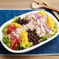 Tex-Mex Cobb Salad-This is an easy and delicious full meal recipe that is also a low calories, low fat, low cholesterol, low sugars, low carbohydrates, diabetic and WeightWatchers (4) PointsPlus recipe and a (1-1/2 Cup) serving size. Makes 8 Servings.