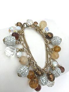 Vintage Crystal Beaded Charm Bracelet Unusual by benjiboyvintage