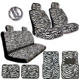 Honda Seat Covers - New Premium Grade 15 Pieces Zebra Print Low Back Front Car Seat, Rear Bench Cover with Head Rest Cover and 4 Pieces Floor Mats Set