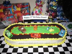 Homemade Disney Cars Race Track Birthday Cake: My son wanted a Disney Cars themed cake for his birthday so I created this Disney Cars Race Track Birthday Cake using bits and pieces of ideas from Race Car Birthday, Disney Cars Birthday, Cars Birthday Parties, Cool Birthday Cakes, 3rd Birthday, Birthday Ideas, Birthday Nails, Birthday Wishes, Race Car Cakes