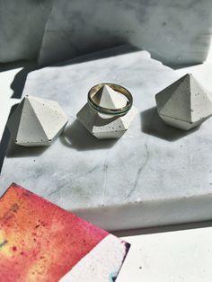 Unpigmented Concrete Diamond Ring Holder Set of Three — Rheal