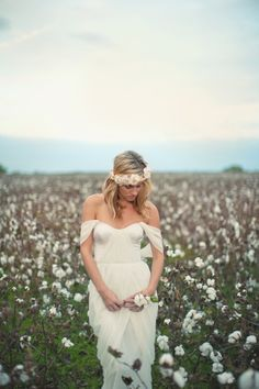 want pictures in a cotton field SO bad.  Winifred Bean dress = gorg. Hippie flowy wedding dress unique vintage off the shoulder