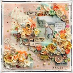 Prima layout by Lene Bjrnerud using new trinkets and flowers