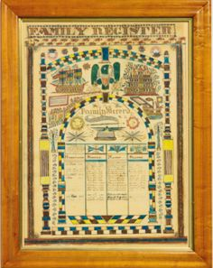 Patriotic Family Register for the Robinson Winchester family of Marlboro, Vermont, 1835 Embroidery Sampler, Winchester, Vermont, Watercolor Art, Folk Art, Modern Art, Vintage World Maps, Auction, Antiques