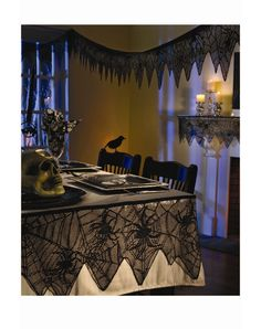 Black Lace Mesh Garland at Spirit Halloween - Add just the right amount of spookiness to your home when you decorate each room with Black Lace Mesh Garland. This package contains 96 inches of black mesh garland for $12.99
