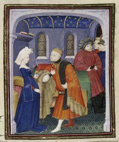 True Love: 'Le Duc des vrais amants' with his lady, in London, BL MS Harley 4431, f. 143r. By Christine de Pizan, made for Queen Isabeau of Bavaria, c. 1410-14.
