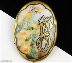 Antique Victorian Porcelain Hand Painted Floral Rose Monogram Flower Brooch Pin