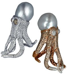 Jacob & Co.'s Octopus cocktail rings, baroque south sea pearls, diamonds, yellow and white gold.