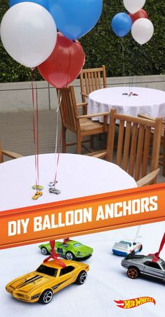 Every awesome 4th of July party  needs balloons. Hot Wheels cars are great for keeping them there.: