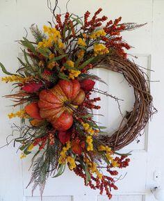 Fall Pumpkin Wreath Fall Wreaths Front Door by WaysideFlorals