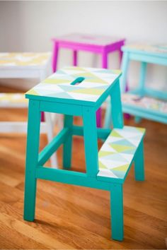 Some of the easiest Ikea hacks require no handyman skills whatsoever. All you really need is a roll of removable wallpaper — and a steady scissor-wielding hand. These 11 Ikea hacks promise simple yet swoon-worthy transformations. Bekvam Ikea, Bekvam Stool, Ikea Stool, Diy Stool, Step Stools, Unique Wallpaper, Diy Wallpaper, Colorful Wallpaper, Ikea Custom