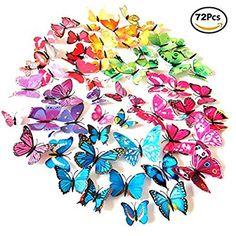 Foonii® 72 PCS 3D Schmetterlinge Wanddeko Aufkleber Abziehbilder,schlagfestem Kunststoff Schmetterling Dekorationen, Wand-Dekor (12 Blau, 12 Farbe, 12 Grün, 12 Gelb, 12 Rosa, 12 Rot ): Amazon.de: Baumarkt